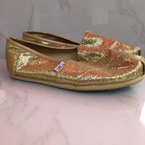 Toms Metallic Gold Glitter Shoes